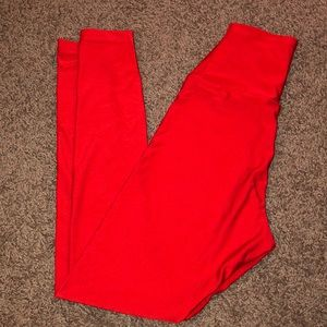 American Apparel High Waisted Red Leggings